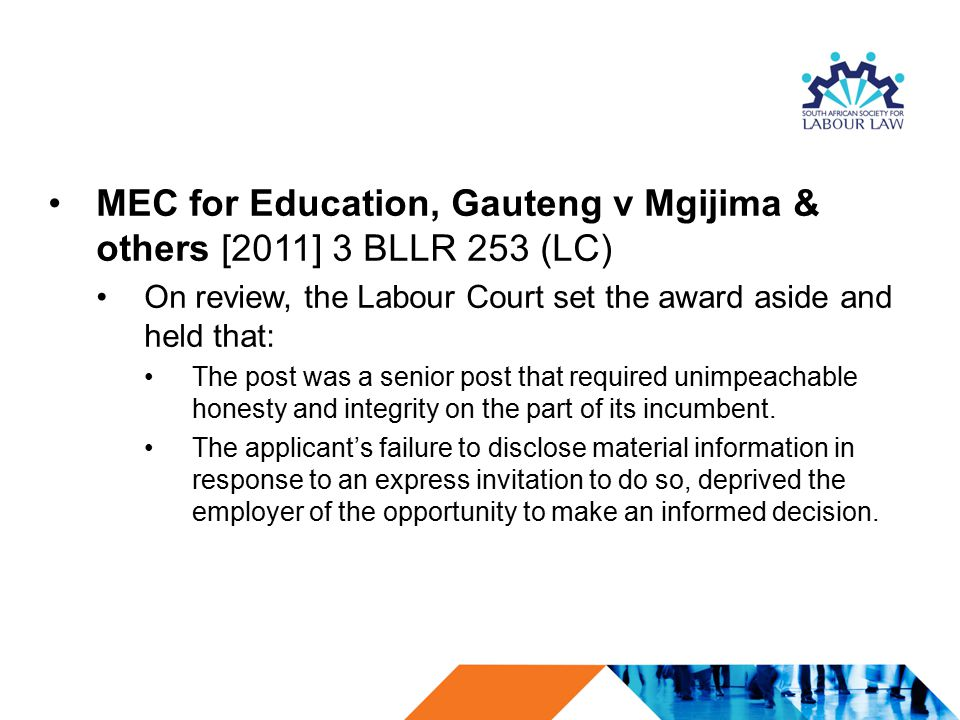MEC for Education, Gauteng v Mgijima & others [2011] 3 BLLR 253 (LC)